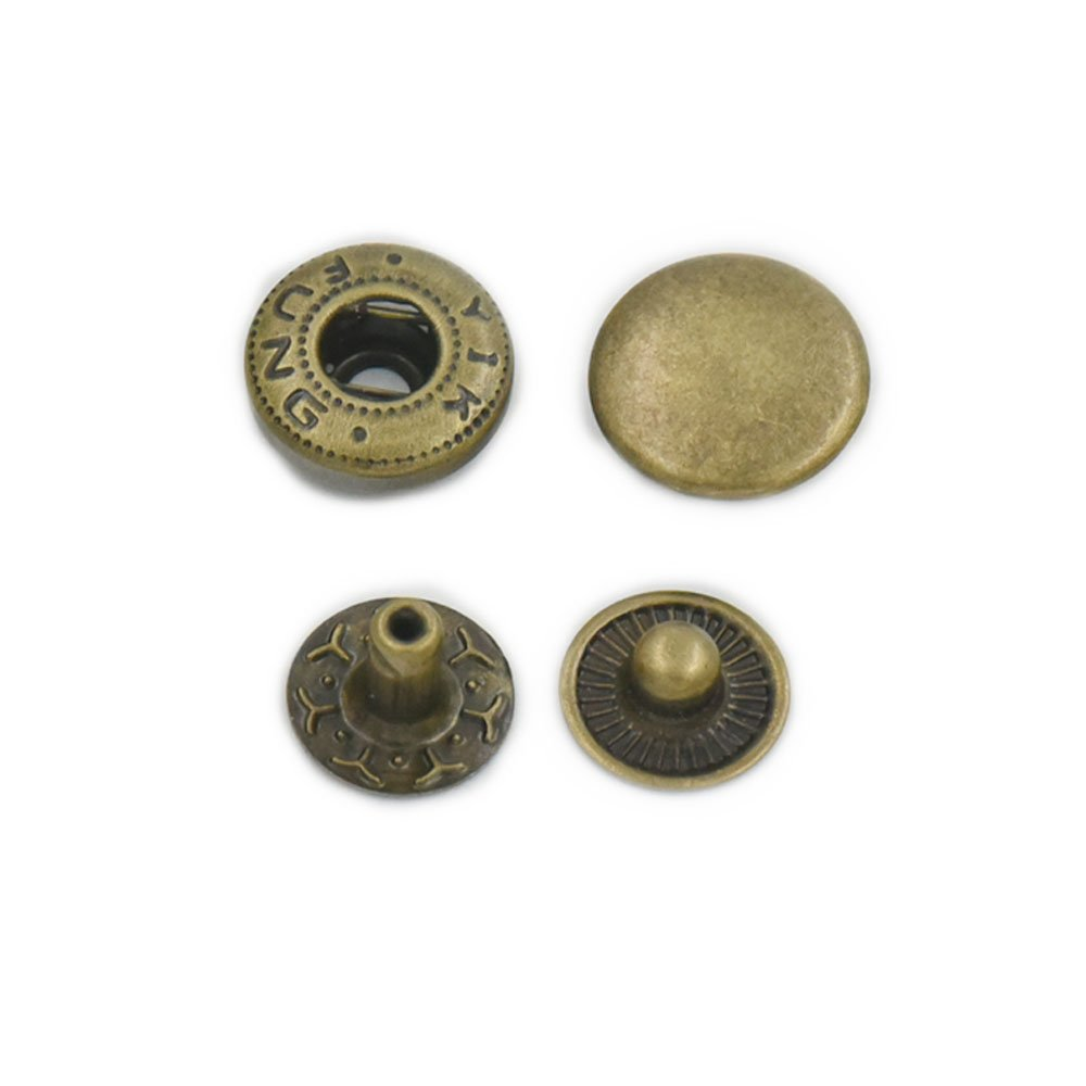 100 Sets 12mm 1/2 Metal Snap Fastener Leather Craft Rapid Rivet Button Setting Sewing Gold fujiyuan