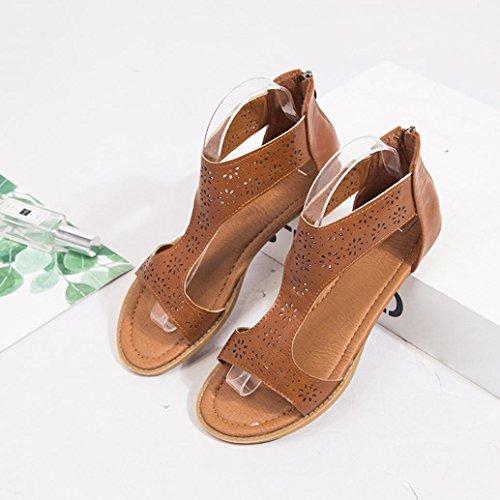 Closure Braun Förderung zurück SANFASHION Sandale Sandal Einlegesohle Große Moderate Gladiator Zip Heels und Frauen Closure BR0xqAwx6