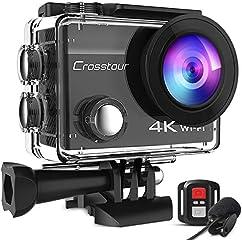 Crosstour CT8500 Cámara Deportiva 4K Wi-Fi 20MP (Cámara de Accion Acuatica de 40M con Micrófono Externo y Control...