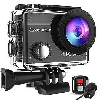 Crosstour - Cámara Deportiva de 20 MP con WiFi, cámara de Fotos Impermeable, con micrófono Externo y estabilizador, Incluye 2 baterías y Kit de Accesorios para Esquiar y Viaje