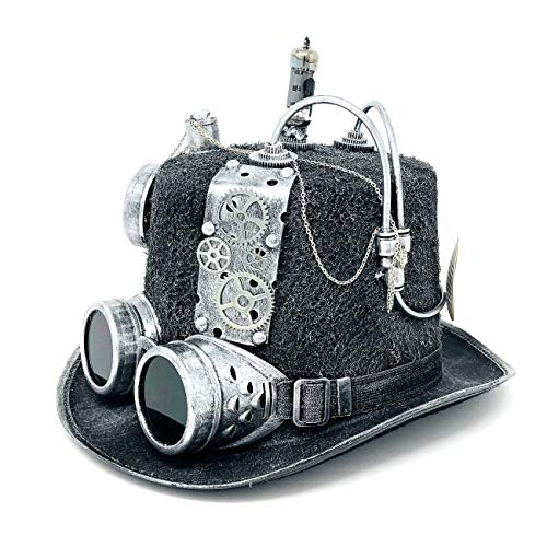 Storm Buy ] Steampunk Style Metallic Top Hat Scientist Time Traveler Halloween Costume Cosplay Party with Goggles (Silver)]()
