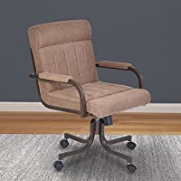 Armen Living Vancouver Caster Tilt Swivel Arm Chair, Brown/Auburn Bay Finish
