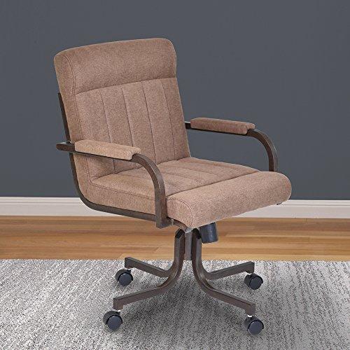 Armen Living Vancouver Caster Tilt Swivel Arm Chair, Brown/Auburn Bay Finish