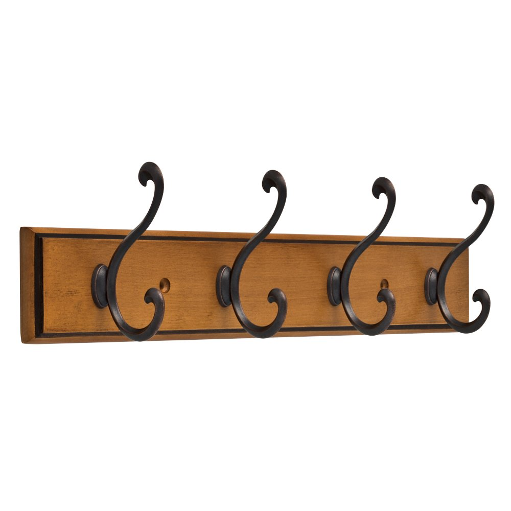 Franklin Brass R32855K-220-R Light Duty Scroll Hook Rack,16 in. Honey Maple & Statuary Bronze by Franklin Brass