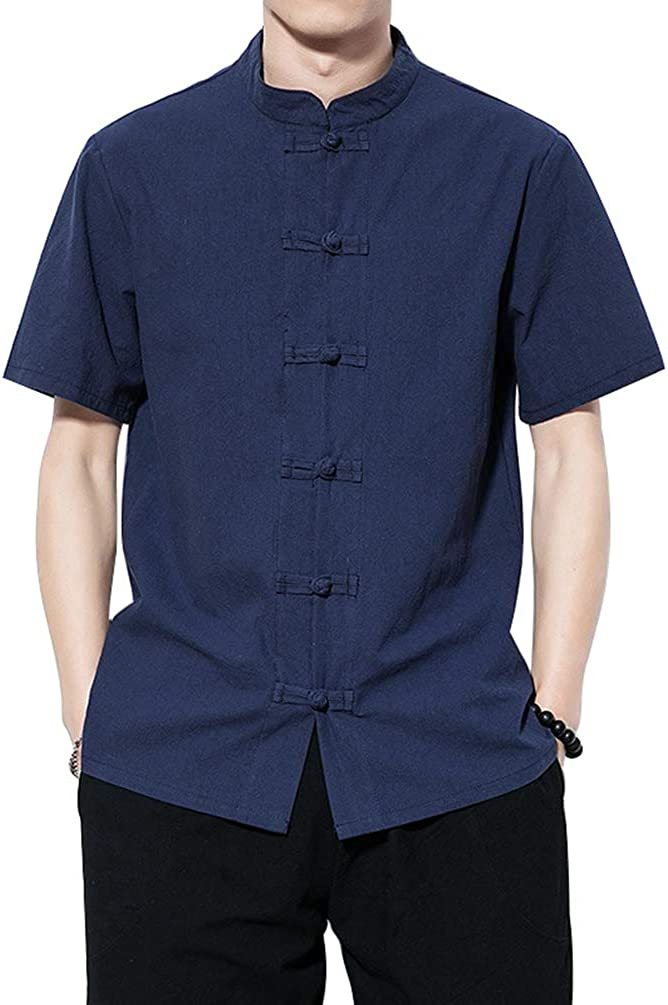 Haobing Hombre Camisas Casual de Lino Cuello Mao Manga Corta Vintage Liso Blusa con Botones Camiseta