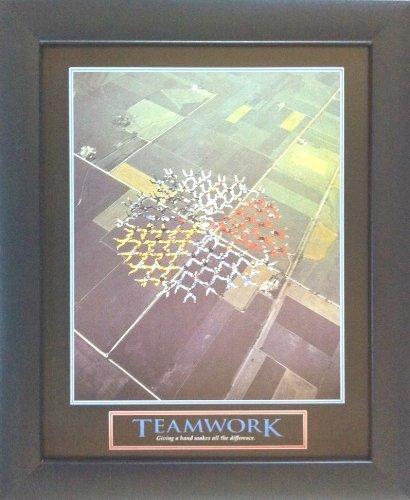 WallsThatSpeak Teamwork Skydive Formation Framed Motivational Poster, Blue/Green/Yellow/Red