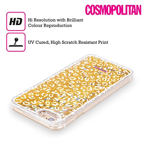 Official Cosmopolitan White Leopard Animal Skin Patterns Gold Liquid Glitter Case Cover for Apple iPhone 5 / 5s / SE