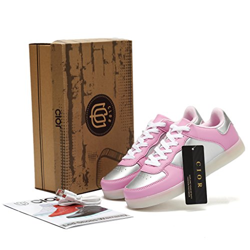 CIOR LED Leuchten Schuhe 11 Farben Blinkt Wiederaufladbare Sport Tanzen Turnschuhe Für Herren Frauen Jungen Mädchen D.pink