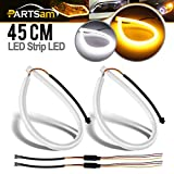 1990 geo prizm headlight assembly - Partsam Switchback LED Strip Lights DRL Daytime Running Headlight White-Amber Dual Color 2pcs Flexible LED Tube Side Signal Light