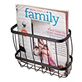 iDesign York Lyra Over-the-Tank Hanging Metal Bathroom Newspaper and Magazine Holder Basket/Rack - Bronze Steel