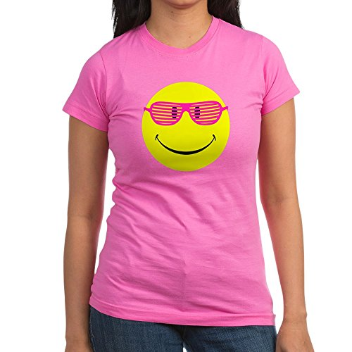 (Royal Lion Junior Jr. Jersey T-Shirt (Dark) Neon Yellow Smiley Face Sunglasses - Raspberry, XL)
