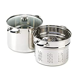VERDUGO GIFT Stainless Pasta Cooker Stock Pot Strainer Lid Set, 8 quart