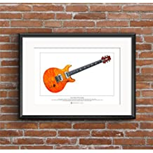 Carlos Santana's PRS prototype guitar Limited Edition Fine Art Print A3 size by George Morgan Illustration