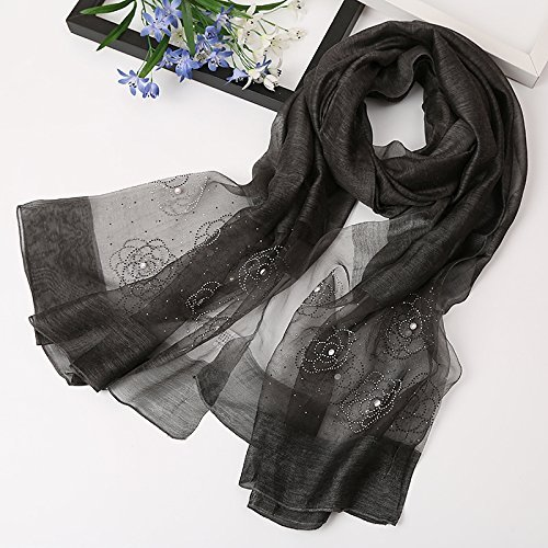 Black SED ScarfDuring The Spring and Autumn Female Scarf Wild Scarf Silk Shawls Silk Scarf Long Mulberry Silk Scarf Thin Imitation Cashmere Scarf Female Autumn and Winter Korean Students Knitted Shawl lo