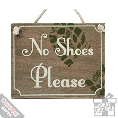 15cm No Shoes Please Sign Wooden Chic Kitchen