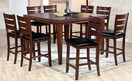 Counter Height Pub Table With Butterfly Leaf And 8 Pub Chair With Black  Cushion In Walnut
