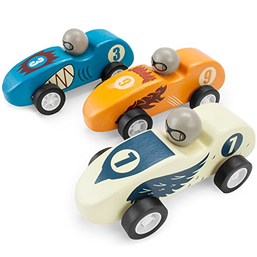 Wooden Wonders Pack of 3 Pull-Back Derby Racers Predators Pack by Imagination Generation (Race Car Wood)