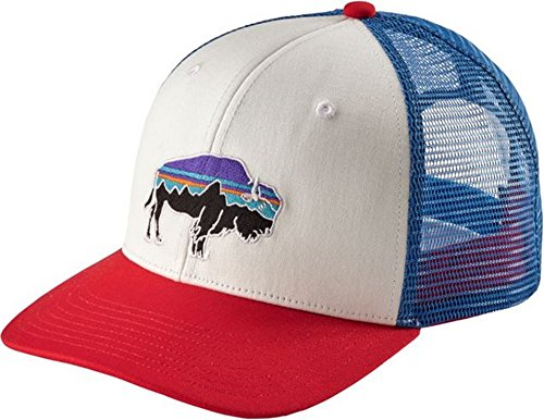Patagonia Mens Fitz Roy Bison Trucker Hat (White W/Fire)