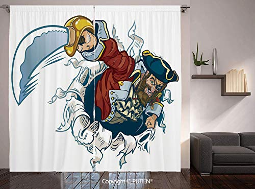 Thermal Insulated Blackout Window Curtain [ Pirate,Cartoon Corsair Buccaneer Rips Out of Backdrop Effect Brandishing a Cutlass Image,Multicolor ] for Living Room Bedroom Dorm Room Classroom Kitchen -