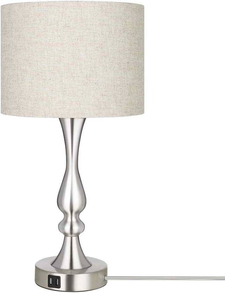 DEWENWILS Dimmable Modern Table Lamp with 2 USB Ports, Fabric Lampshade, Touch Control Bedside Lamp for Living Room, Bedroom, Office, LED Bulb Included, Nickel Finish