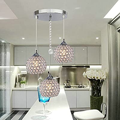 "DINGGUâ""¢ 3 Lights Modern Crystal Ball Pendant Light Fixture Flush Mounted Ceiling Chandelier"