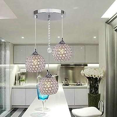 """DINGGUâ""""¢ 3 Lights Modern Crystal Ball Pendant Light Fixture Flush Mounted Ceiling Chandelier"""
