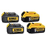 DEWALT DCB305-4 20V Max XR Lithium-Ion Premium Battery Pack with (2) 5.0Ah & (2) 3.0Ah Batteries