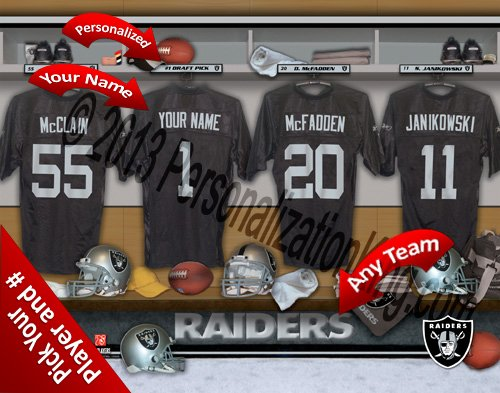 Oakland Raiders Team Locker Room Clubhouse Personlized Officially Licensed NFL Photo Print ()