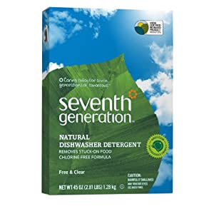 Seventh Generation Natural Automatic Powder Dishwashing Detergent, Free & Clear, 45-Ounce Boxes, Pack of 12, Packaging May Vary