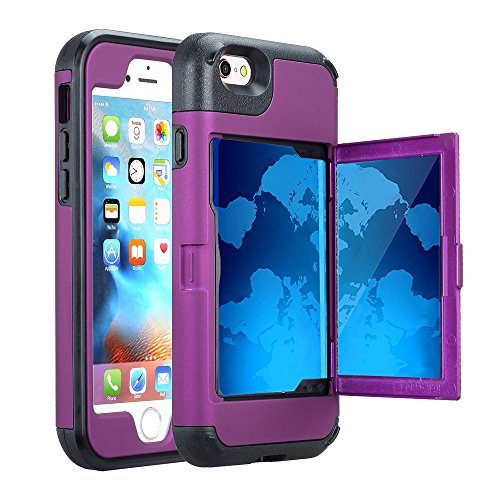 iPhone 6S Case, Hidden Door Slim Wallet Case, Fits 2 Cards and Cash, Reinforced Drop Bumper Protection, Open Mirror, Front Frame Screen Protection for iPhone 6/6S (4.7inch) -Purple