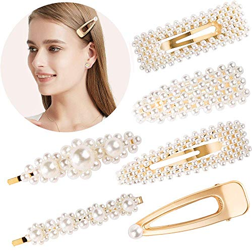 Souarts 6PCS Hair-Clips Pearl Hair Pins Hair Barrettes Snap Bobby Pins Clips for Women Gold Wedding Bridal Hair Accessories ()