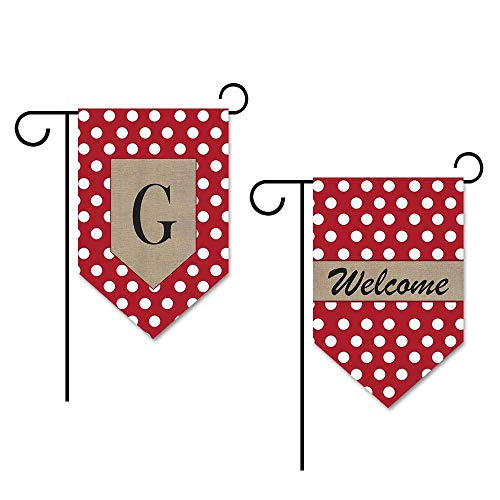 KafePross Dots Letter and Welcome Garden Flag Monogram G 12.5x18 Print Both Sides]()