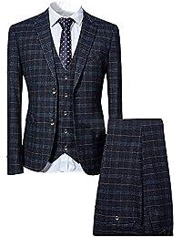 eca7efdb5671 Mens 3 Piece Slim fit Checked Suit Blue/Black Single Breasted Vintage Suits