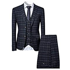 Mens smart plaid 3 piece suit.Slim fit. Perfect for all smart occasions: wedding or party.1.Jacket: notch lapels, two button fastening, two front pockets, non-functioning buttoned cuffs, center vent.2.Waistcoat: adjustable buckled back strap....