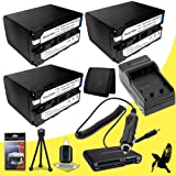 Three Halcyon 7200 mAH Lithium Ion Replacement NP-F970 Batteries and Charger Kit + Memory Card Wallet + Multi Card USB Reader + Deluxe Starter Kit for Sony DCR-VX2100 3 CCD Mini DV Camcorder and Sony NP-F970