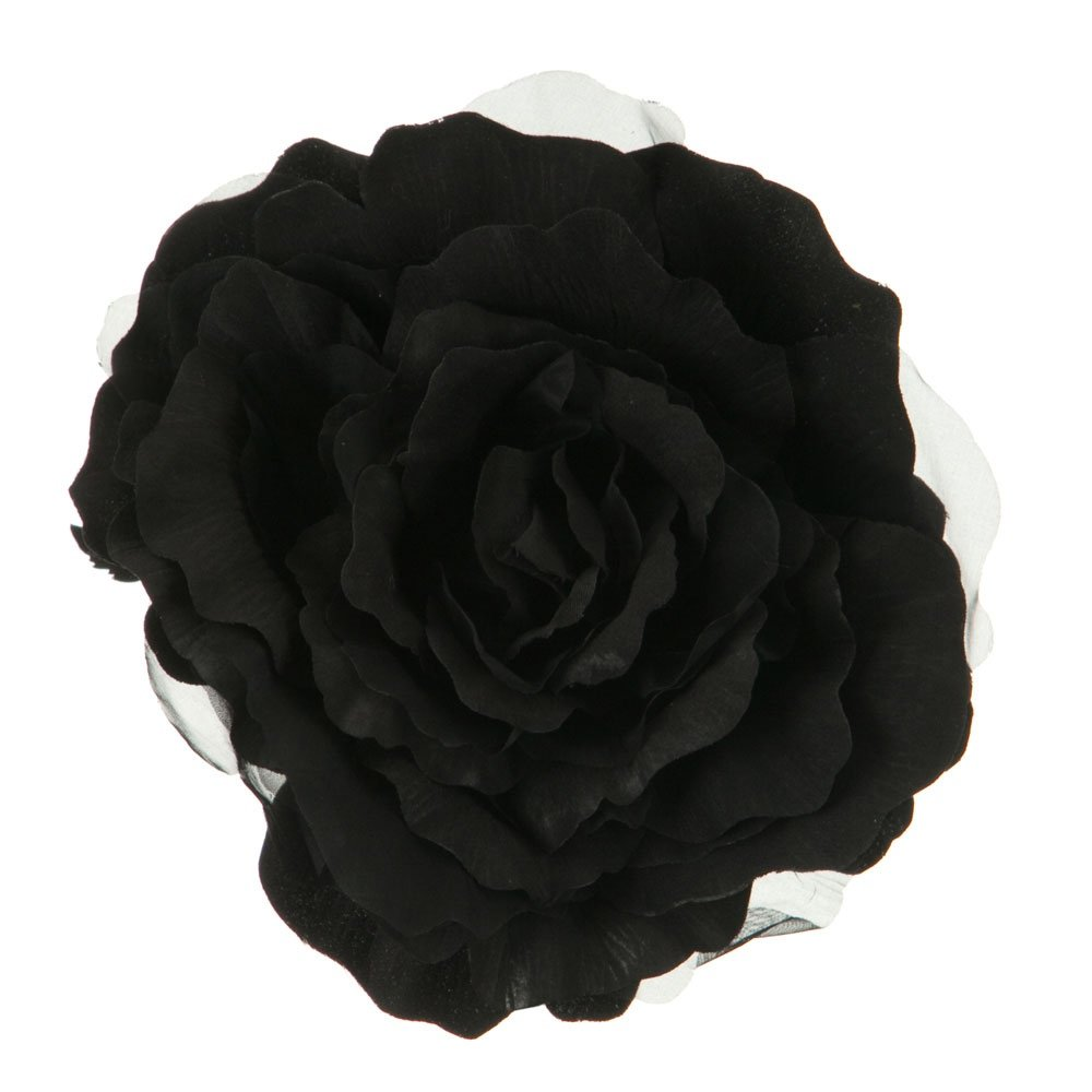 Xl Flower 7 Inch Rose Silk Pin Clip On Black At Amazon Womens