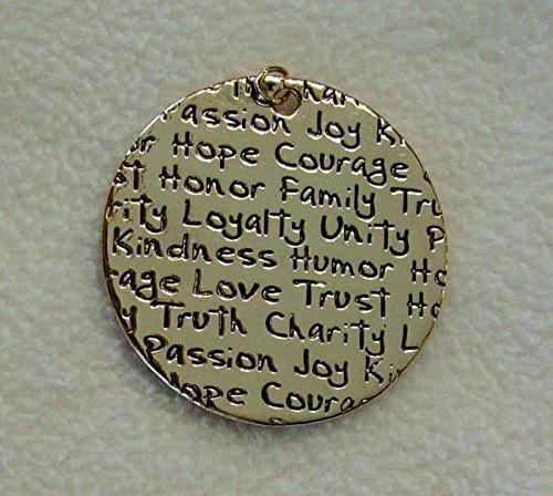Gold Hope Courage Loyalty Kindness Joy Affirmation Words Bead Pendant ()