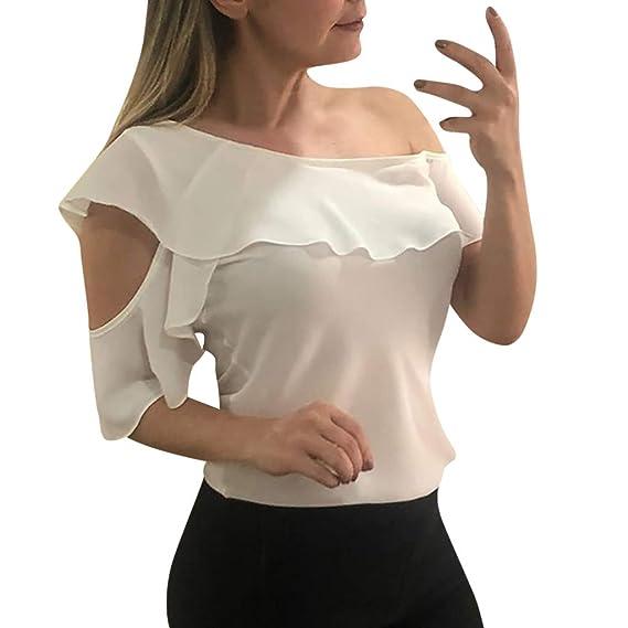 Proumy Camiseta de Mujer con Una Sola Manga Blusa con ...
