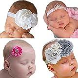4pc Newborn Headbands Chiffon Elastic Hairbands for Infant Baby Toddler Girls