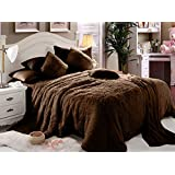 Comfy Luxe Faux Fur 6 Pcs Soft Blanket Set King Size - Brown