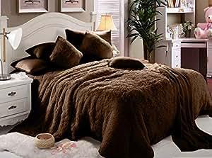 Comfy Luxe Faux Fur 6 Pcs Soft Blanket Set King Size - Brown