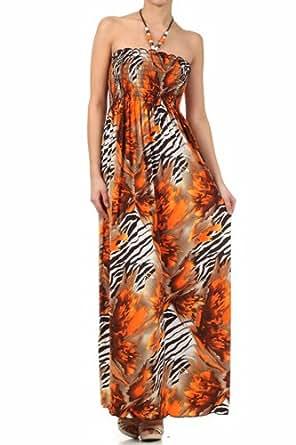 FORoughZebra72A-7931 Wild Zebra Inspired Graphic Print Beaded Halter Smocked Bodice Long / Maxi Dress - Orange / Small