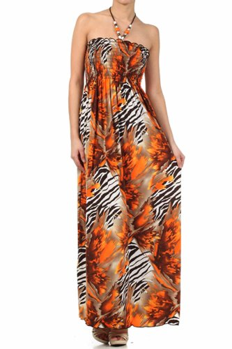 FORoughZebra72A-7931 Wild Zebra Inspired Graphic Print Beaded Halter Smocked Bodice Long / Maxi Dress - Orange / Medium
