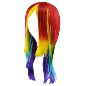 Nacome Short Long Hair Bangs Blonde My Little Pony Rainbow Dash Cosplay Wig Ponytail Multi Color Synthetic Full Long