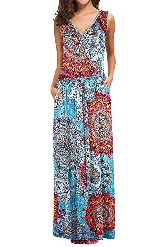Bloggerlove Womens Sleeveless Summer Dresses Floral Print Maxi Dresses Casual Tank Top Dress with Pockets (L, 2 Mix Flower Blue) (Print Dress Mix)