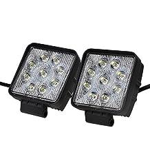 autvivid 2pcs 27W Spot LED Work Light Square (Spot,Black)