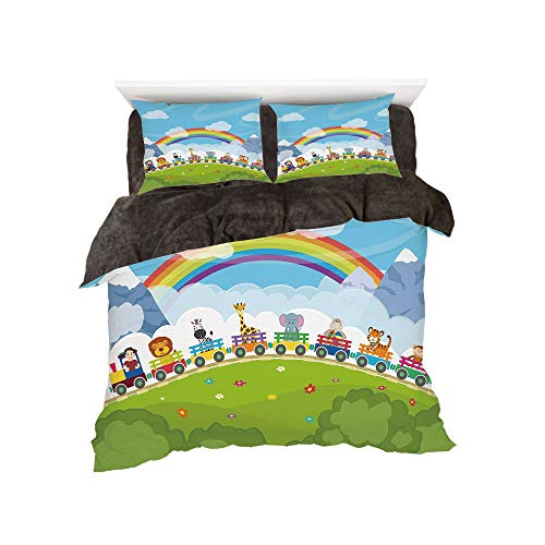 - All Season Flannel Bedding Duvet Covers Sets for Girl Boy Kids 4-Piece Full for bed width 4ft Pattern by,Nursery,Cartoon Railway Train with Various Animals and a Rainbow Mountains Clouds Trees,Multico