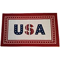 Americana Patriotic Door Mat USA Stars and Stripes Red White Blue Indoor Home and Kitchen Rug