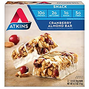 Atkins Snack Bars, Cranberry Almond, 10g Protein, 2g Net Carbs, 1g Sugar, 6.17-Ounce, 5 Count (Packaging May Vary)