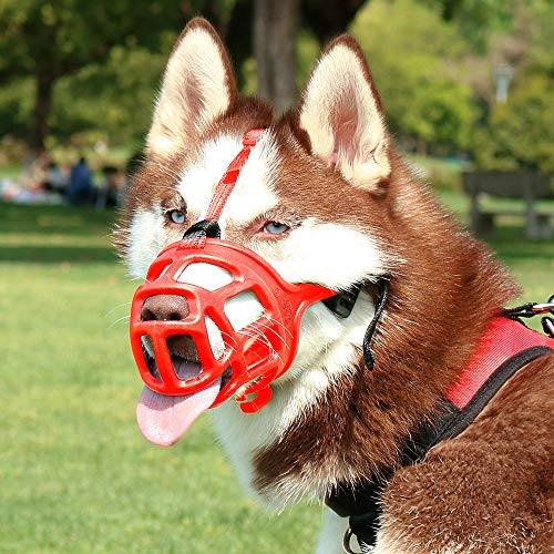 (KITAINE Pet Dog Muzzle RED, Soft Ergonomics Basket Rubber Muzzle for Dogs, Small Medium Large Dogs Muzzle to Prevent Biting Chewing Barking, Adjustable Muzzle Allow Breath Drink (5-Snout: 12.9-14.5''))